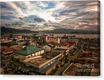 Port View At River Mahakam Canvas Print by Charuhas Images