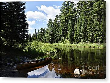 Portage Landing Along The Moose River Canvas Print by Larry Ricker