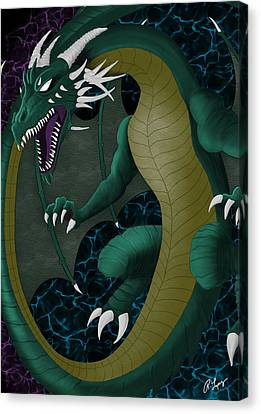 Canvas Print featuring the digital art Portal Dragon by Raphael Lopez