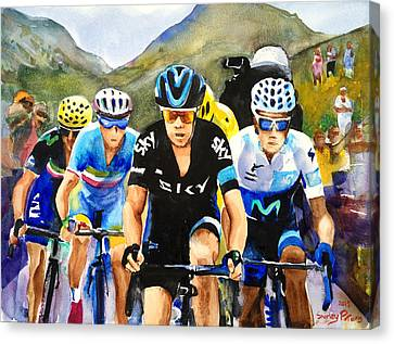 Porte Quintana Froome And Nibali Canvas Print by Shirley Peters