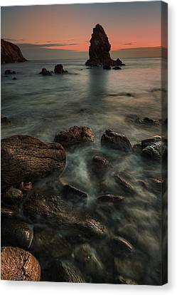 Porth Saint Beach At Dusk. Canvas Print by Andy Astbury