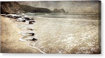 Porthcurno With Textures Canvas Print by Linsey Williams