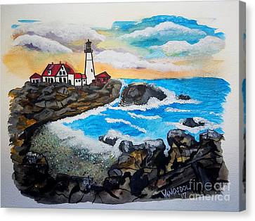 Porthead Lighthouse Maine In Watercolors Canvas Print