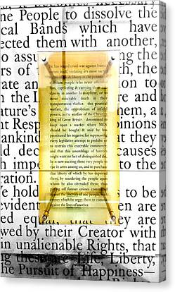 Independance Canvas Print - Portion Of The Declaration by Greg Fortier