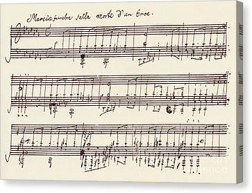 Portion Of The Manuscript Of Beethoven's A Flat Major Sonata, Opus 26 Canvas Print by Beethoven