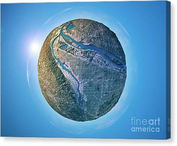 World Map Canvas Print - Portland 3d Little Planet 360-degree Sphere Panorama by Frank Ramspott