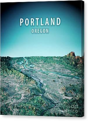 Portland 3d Render Satellite View Topographic Map Vertical Canvas Print by Frank Ramspott