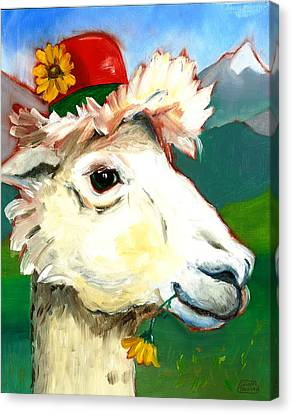 Canvas Print featuring the painting Portland Alpaca by Susan Thomas