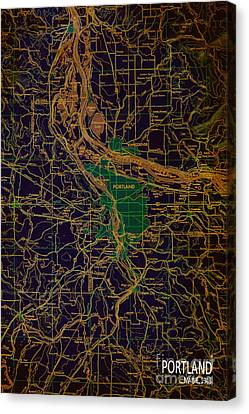 Portland Brown And Green Antique Map Canvas Print