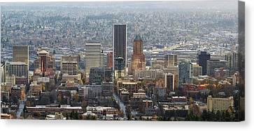 Portland City Downtown Cityscape Panorama Canvas Print by David Gn