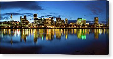 Portland City Skyline Blue Hour Panorama Canvas Print by David Gn