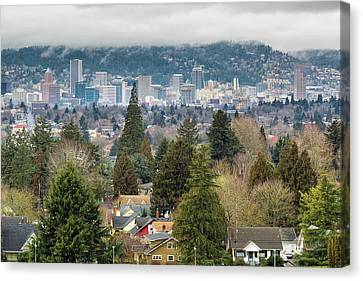 Portland City Skyline From Mount Tabor Canvas Print by David Gn
