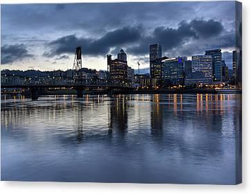 Portland City Skyline With Hawthorne Bridge At Dusk Canvas Print by David Gn