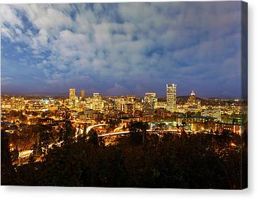 Canvas Print - Portland Downtown Cityscape At Blue Hour by David Gn