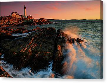 Canvas Print featuring the photograph Portland Head First Light  by Emmanuel Panagiotakis