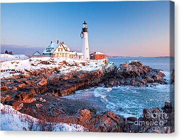Portland Head Greets The Sun Canvas Print by Susan Cole Kelly