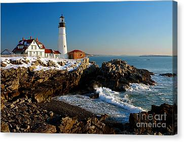 Portland Head Light - Lighthouse Seascape Landscape Rocky Coast Maine Canvas Print by Jon Holiday