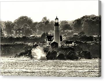 Portland Head Light At Cape Elizabeth In Black And White Canvas Print
