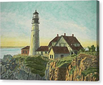 Portland Head Light At Sunrise Canvas Print by Dominic White