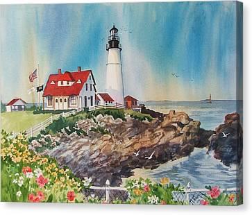 Portland Head Light Canvas Print by Dianna  Willman