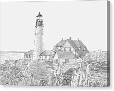 Portland Head Light Drawing Canvas Print by Dominic White