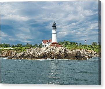 Portland Head Light From Casco Bay Canvas Print by Laurie Breton