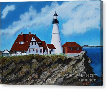 Portland Head Light In Maine Viewed From The South Canvas Print