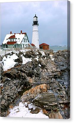 Portland Head Light In Winter Canvas Print by Olivier Le Queinec