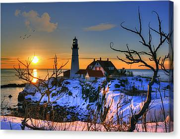 New England Lighthouse Canvas Print - Portland Head Light Sunrise - Maine by Joann Vitali