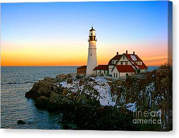 Canvas Print featuring the photograph Portland Head Light Winter Sunset by Olivier Le Queinec