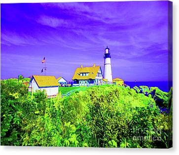 Rocky Maine Coast Canvas Print - Portland Head Lighthouse by Ann Johndro-Collins