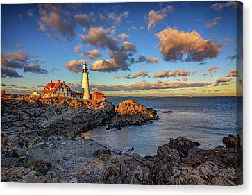 Portland Head Lighthouse At Sunset Canvas Print by Rick Berk