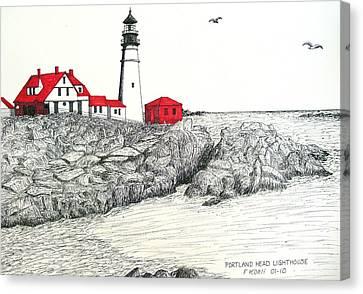 Portland Head Lighthouse Drawing Canvas Print by Frederic Kohli