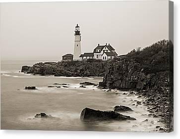 Portland Head Lighthouse Foggy Morning Sepia Canvas Print