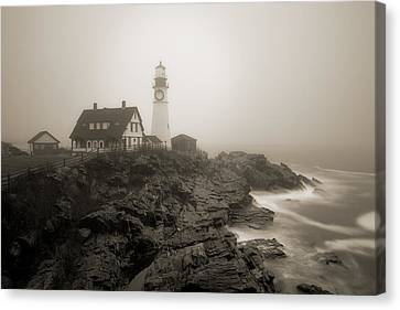 Portland Head Lighthouse In Fog Sepia Canvas Print