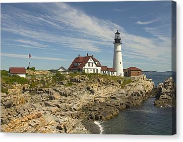 Rocky Maine Coast Canvas Print - Portland Head Lighthouse by Mike McGlothlen