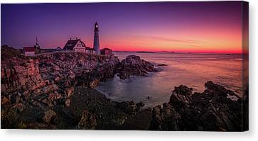 Canvas Print featuring the photograph Portland Head Lighthouse Sunrise  by Emmanuel Panagiotakis
