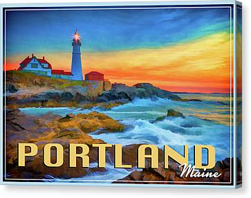 Portland Head Lighthouse Vintage Travel Poster Canvas Print by Rick Berk