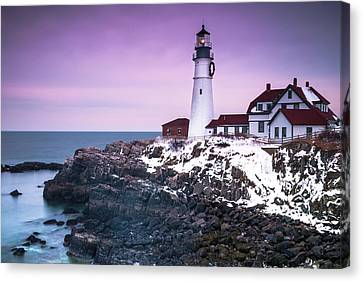 Maine Portland Headlight Lighthouse In Winter Snow Canvas Print