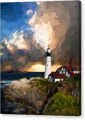 Portland Lighthouse In A Storm Canvas Print by Georgiana Romanovna