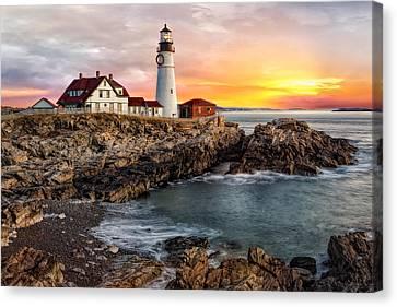 Portland Lighthouse Sunrise Canvas Print by Susan Candelario