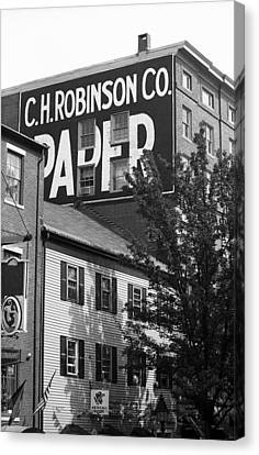 Portland, Maine - Ghost Mural Bw Canvas Print by Frank Romeo