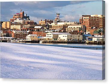 Portland Maine Winter Skyline Canvas Print by Eric Gendron