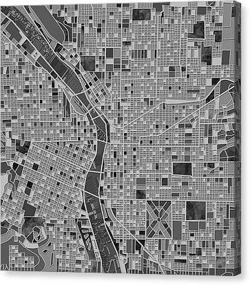 Portland Map Black And White Canvas Print