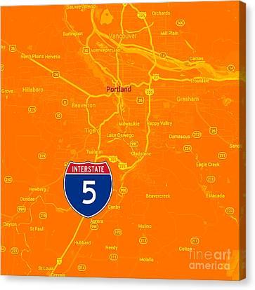 Portland Map, Interstate 5 Canvas Print