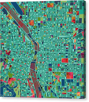 Portland Map  Canvas Print