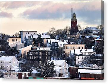 Portland Observatory Winter Skyline Canvas Print by Eric Gendron