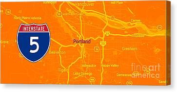 Portland Orange Mid Century Map, Interstate 5 Canvas Print by Pablo Franchi
