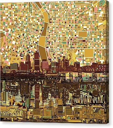 Abstract Digital Canvas Print - Portland Skyline Abstract 9 by Bekim Art