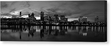 Portland Skyline Black And White Canvas Print